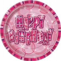 "Pink Glitz Happy Birthday 9"" Paper Plates (8)"
